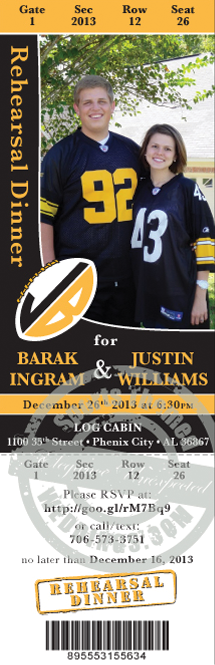 NFL themed wedding invitation ticket example