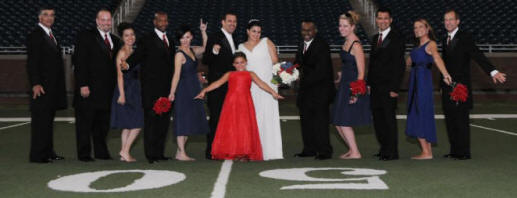 The Wedding Party on the 50 Yard Line