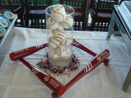 baseball wedding table centerpiece