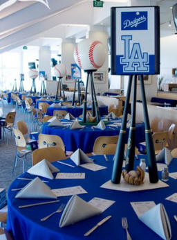LA Dodgers Wedding Reception Baseball Centerpiece
