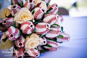 Baseball Rose Bouquet from SportsThemedWeddings.com