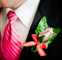 Baseball Boutonniere for Groomsmen