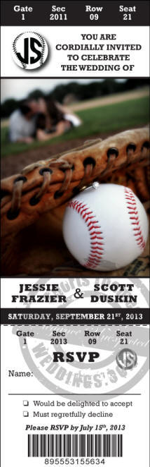 Custom designed Ticket Style Baseball Wedding Invitation