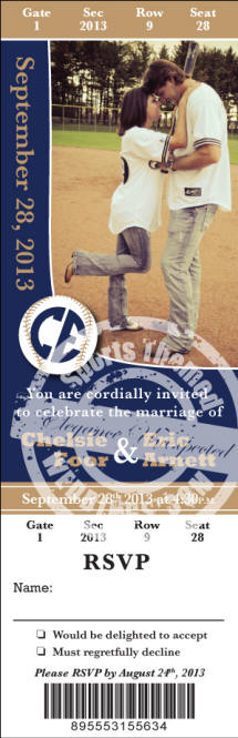 Custom Designed Baseball Wedding Invitation