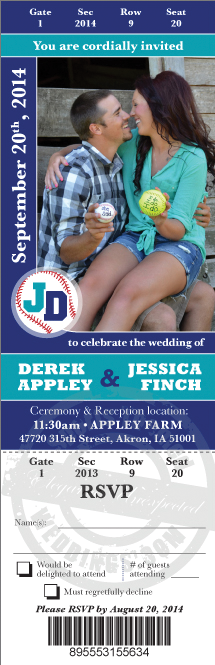 Baseball Themed Wedding Save the Date Ticket