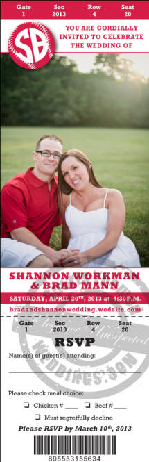 Custom Printed Baseball themed wedding invitation ideas - Tickets