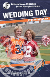 College Themed Gameday Wedding Program
