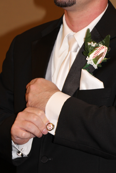 Baseball Themed Wedding - Cufflinks and Boutonnieres