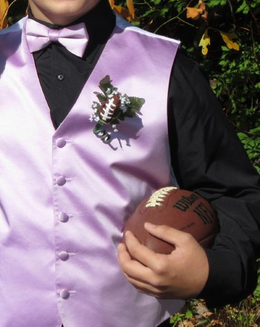 Football Rose Boutonniere - Homecoming & Prom
