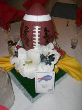 Sports themed weddings sports themed wedding reception centerpieces football wedding table centerpiece junglespirit Images