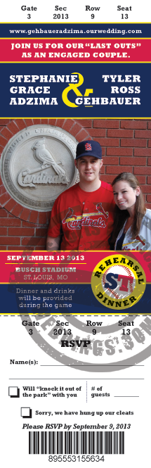 Cardinals Baseball Wedding Invitation