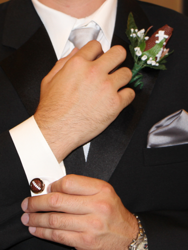 Football Themed Boutonniere and Cufflinks