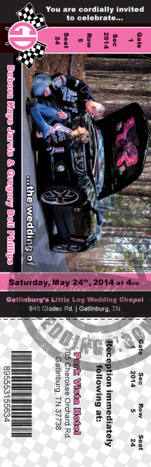 NASCAR themed wedding invitation