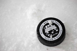 Custom Printed Wedding Hockey Puck