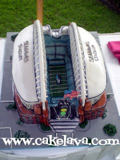 Qwest Field Football Stadium Themed Wedding Cake