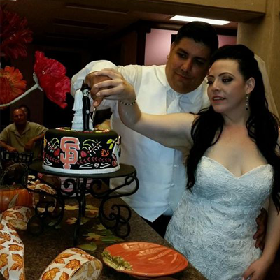 Cutting the San Francisco Giants Wedding Cake