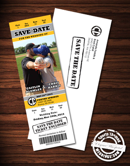 Sports Themed Weddings Custom Designed Deluxe Wedding Invitation – Event Ticket Ideas