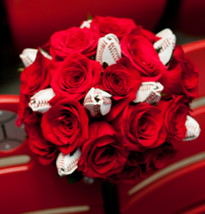 Bridal Rose Bouquet for Baseball Themed Wedding