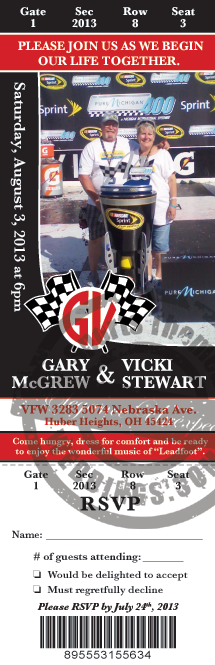 NASCAR Racing Wedding Ticket Invitation