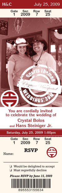 Western Themed Wedding Ticket Invitations Weddings are undoubtedly one of
