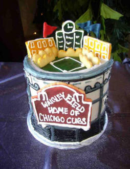 Wrigley Field Baseball Ballpark Wedding Cake