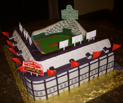 Wrigley Field Wedding Cake - Chicago Cubs