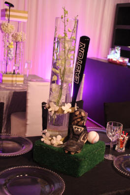 Wedding Reception Centerpiece - Baseball Themed Wedding