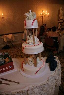 three tier baseball bat wedding cake