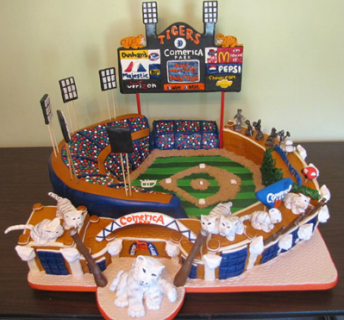 Baseball Themed Wedding Cake - Detroit Tigers