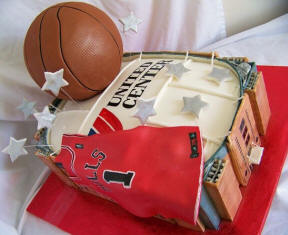 basketball wedding theme grrom cake - Chicago Bulls United Center