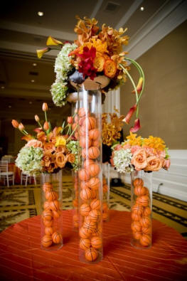 DIY basketball themed wedding centerpiece ideas