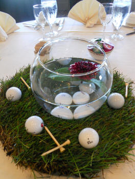 golf wedding theme centerpiece