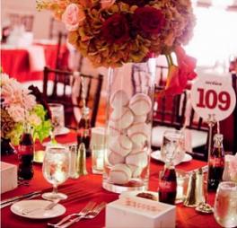 Stwtack Baseball Wedding Reception Centerpiece Idea