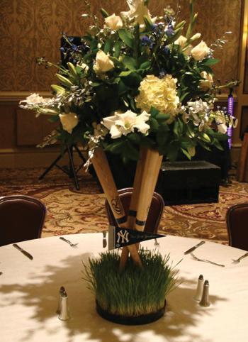 Stwtack Baseball Themed Wedding Reception Centerpiece